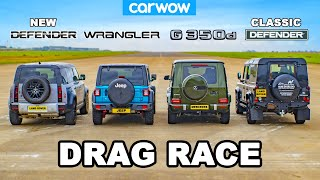 Mercedes G350 vs Jeep vs NEW & OLD Defender: DRAG RACE!