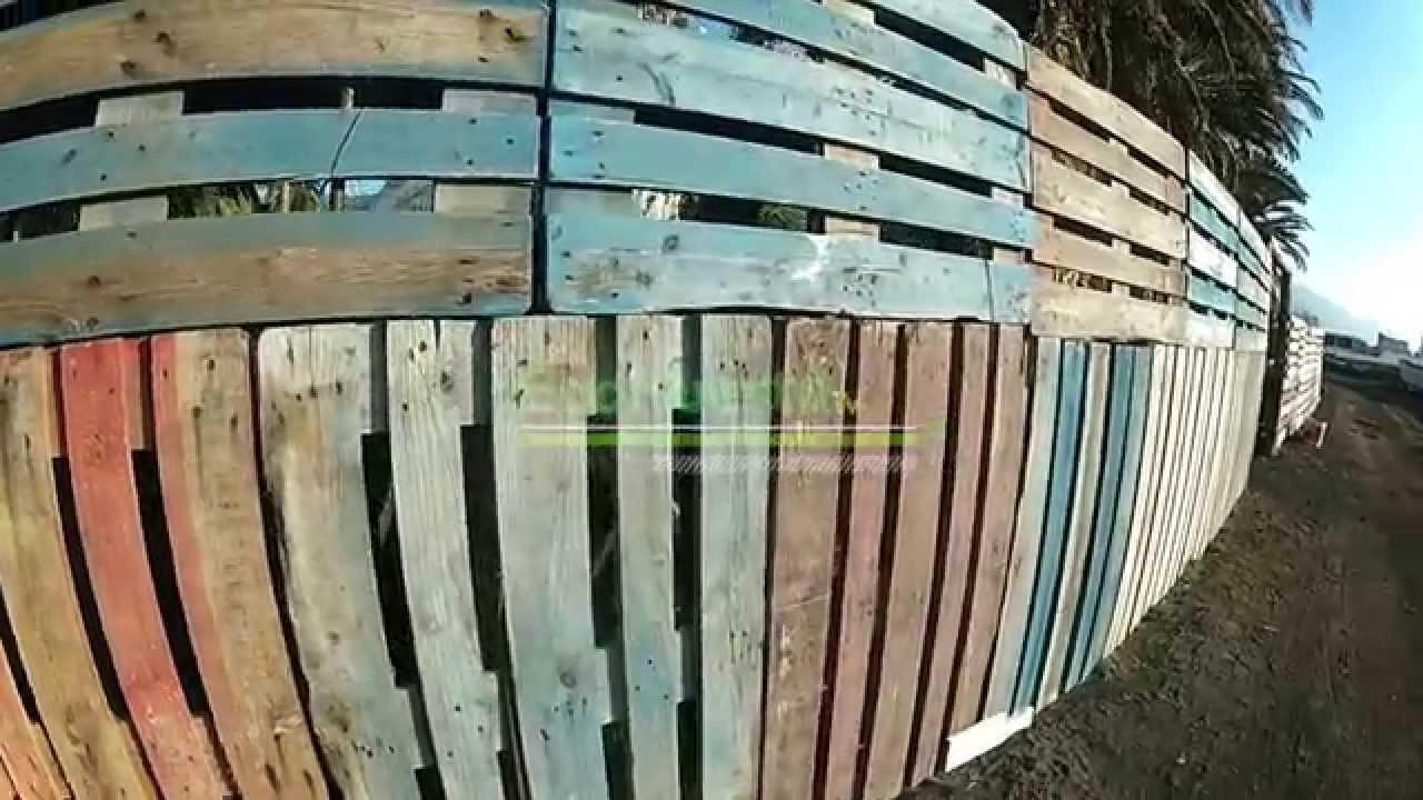 Como hacer una valla con palets reciclados youtube for Como hacer una piscina con palets