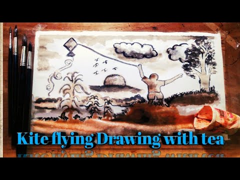 drawing with tea Kite festival || instant coffee art || tea painting – best (very easy)