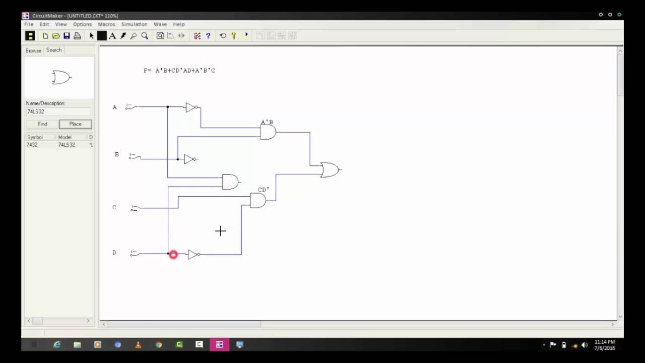 logic circuit diagram using circuit maker [ 1280 x 720 Pixel ]