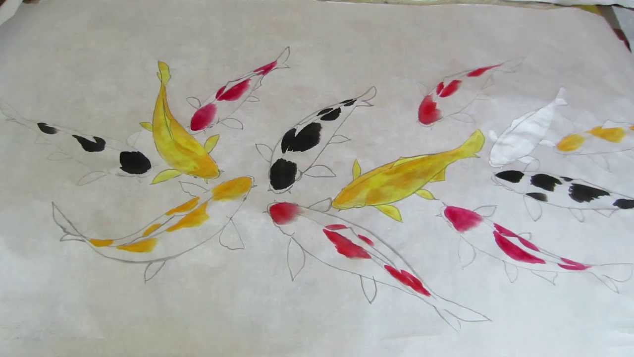How to paint fish in pond koi water color painting for How to paint a fish