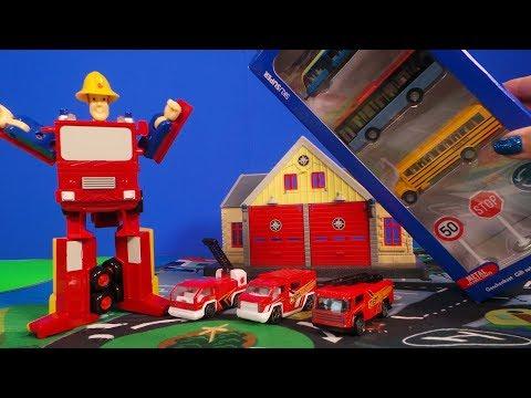 feuerwehrmann-/-fireman-sam-pontypandy-play-mat-tram,-coach-and-school-bus-unboxing---spielmatte