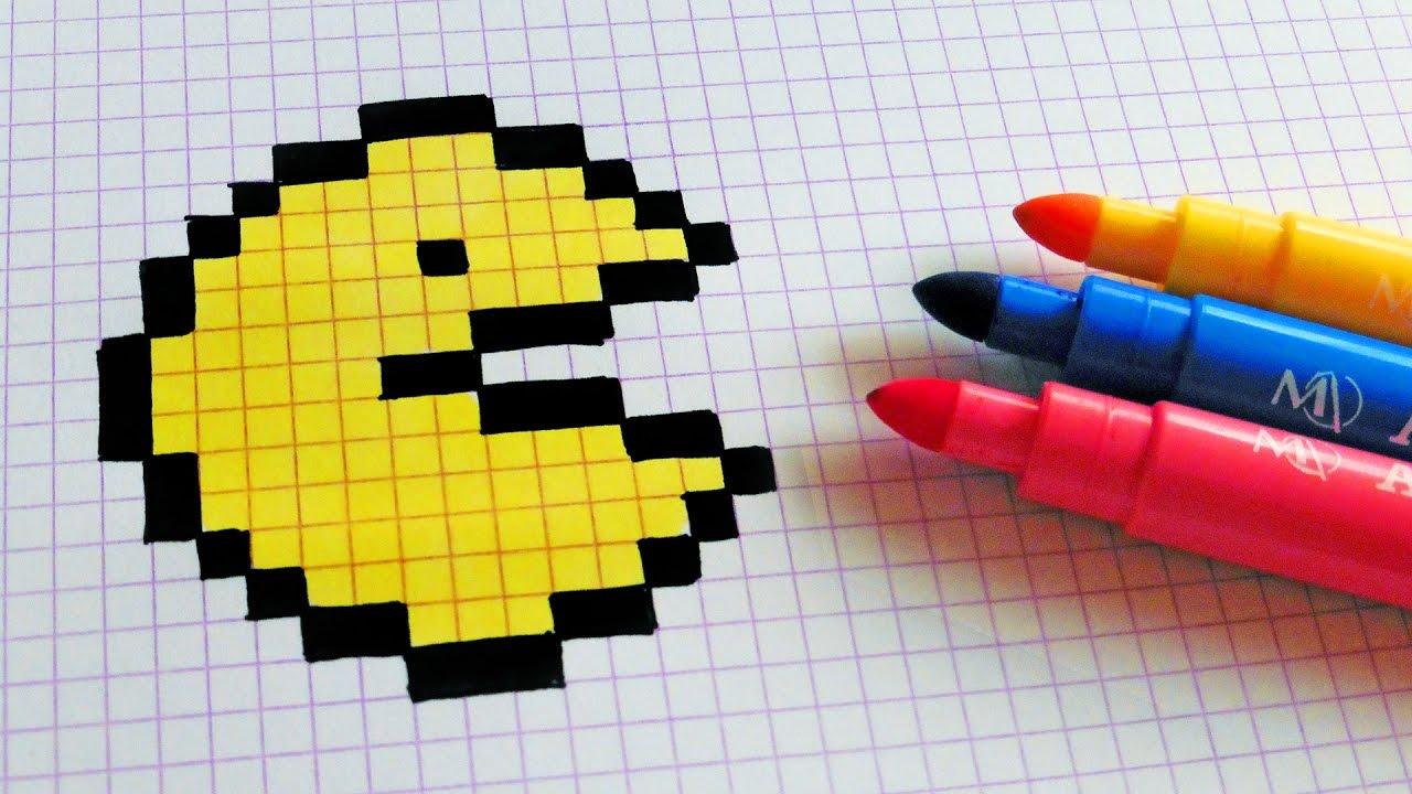 Handmade Pixel Art - How To Draw a Pac-man #pixelart - YouTube  Handmade Pixel ...