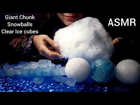 Huge powdery chunk | clear ice cubes | Snowballs | ASMR Ice Eating | Ice Mukbang | 氷を食べる
