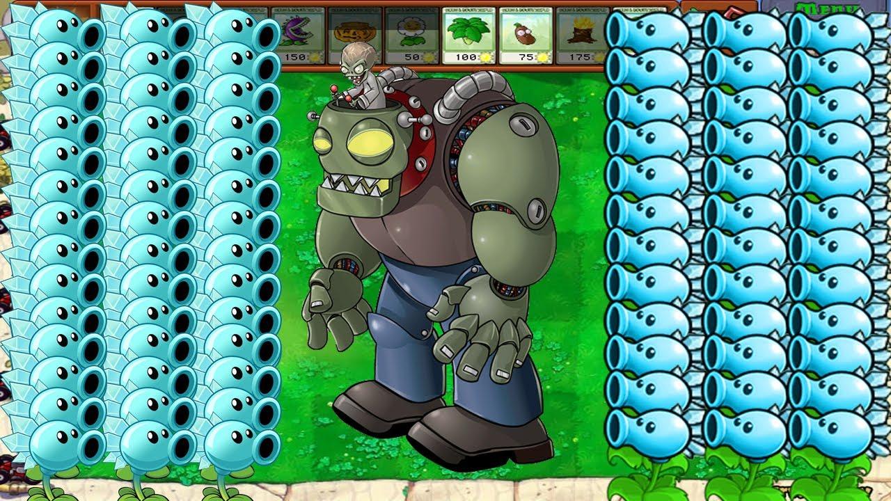 Plants vs Zombies Hack - All Snow Pea vs Gargantuar vs Zomboss