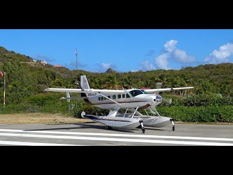 RARE Cessna grand caravan 208 seaplane landing & takeoff from St. Barts (before hurricane irma)