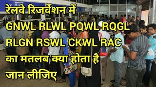 What is meaning of  GNWL,RLWL,PQWL,RLGN,RSWL,CKWL,RAC RQGL in railway reservation