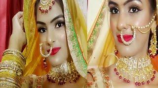 दुल्हन मेकअप कैसे करें - Step By Step Bridal makeup Byself Gold Glittery Eyes Hot Red Lips (Hindi)