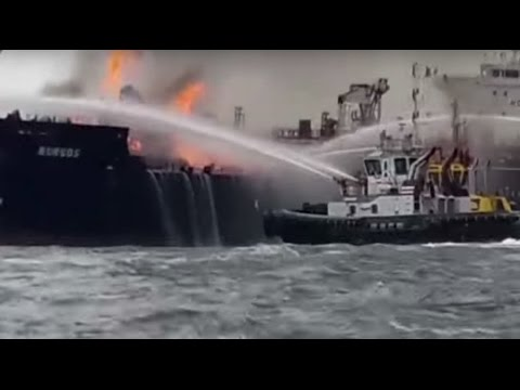 Massive fire engulfs oil tanker in Gulf of Mexico