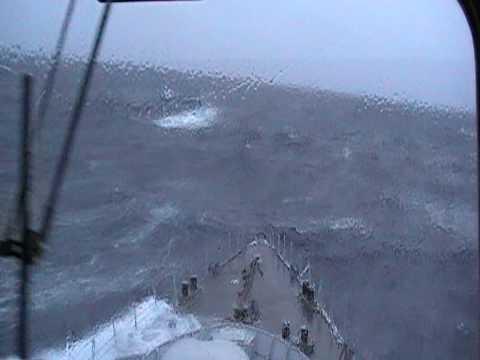 Huge waves ; Dutch navy ship during transit on the atlantic ocean