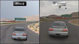 Gran Turismo 6 vs Gran Turismo Sport - Nissan SKYLINE GT-R V・spec (R33) '97 at Willow Springs