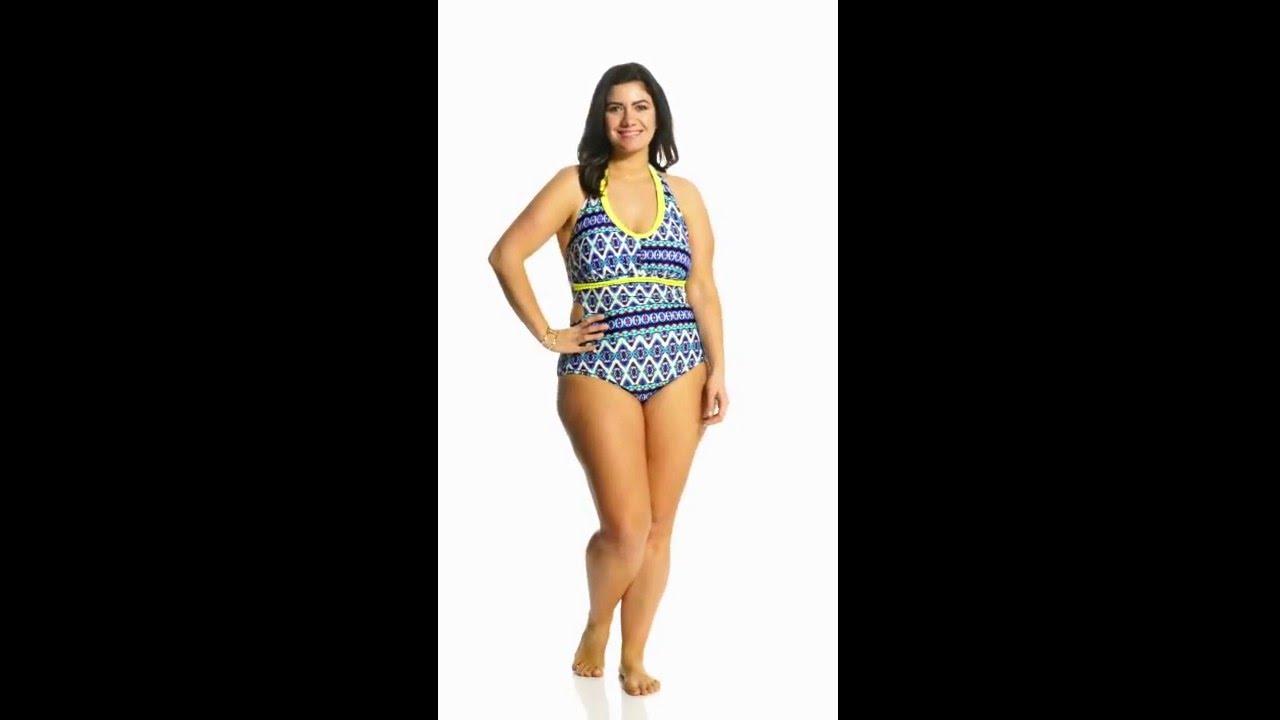 f180f8cfa01 Jessica Simpson Plus Swimwear Plus Size Tie Dye For Cut Out Halter One Piece...    SwimOutlet.com