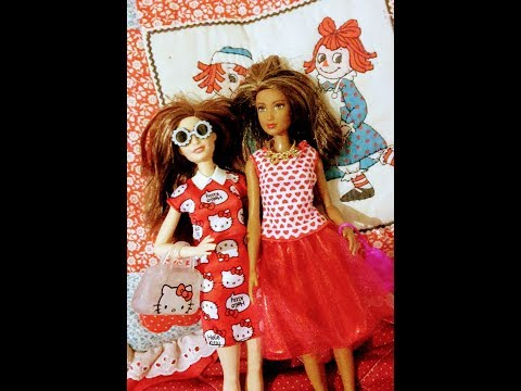 Barbie doll dress up #9 hello kitty fashion pk!! Red dress and red skirt.