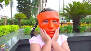 Five Little Babies Jumping on the Bed Kids Song - CoCo play with Masks Outdoor Playground