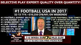 **34-17 FREE SPORTS PICKS RUN** FREE MLB PICKS 8/19/18, #1 CFB PICKS USA!
