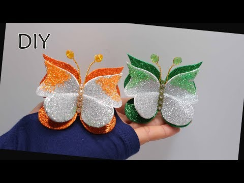 DIY - How to make butterfly from glitter foam sheet   Membuat kupu busa glitter   Eva foam