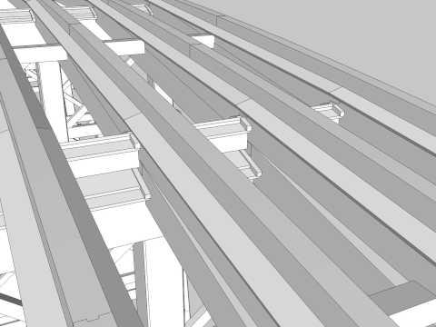 錦帯橋の構造 3DCG 柱橋(第1橋) Virtual Construction View of Kintaikyo Bridge(The First Part of Bridge)