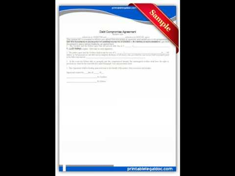 Free Printable Debt Compromise Agreement Forms Youtube