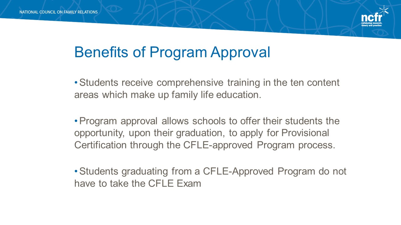 Cfle Program Approval Part 2 Apr Benefits Of Apr 2017 Youtube