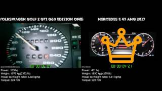 Volkswagen Golf 2 GTI G60 Edition One vs Mercedes E 43 AMG 2017 // 0-100 km/h