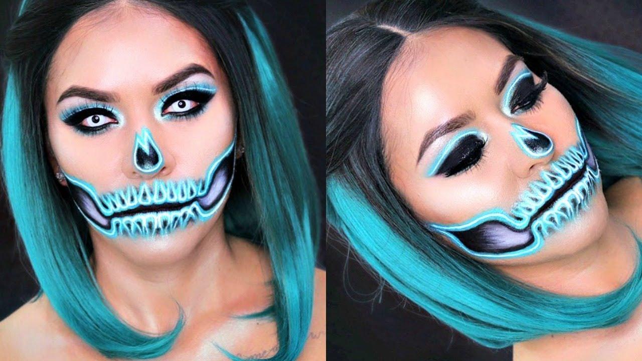 Glam Neon Skull Makeup Tutorial | Halloween Makeup - YouTube