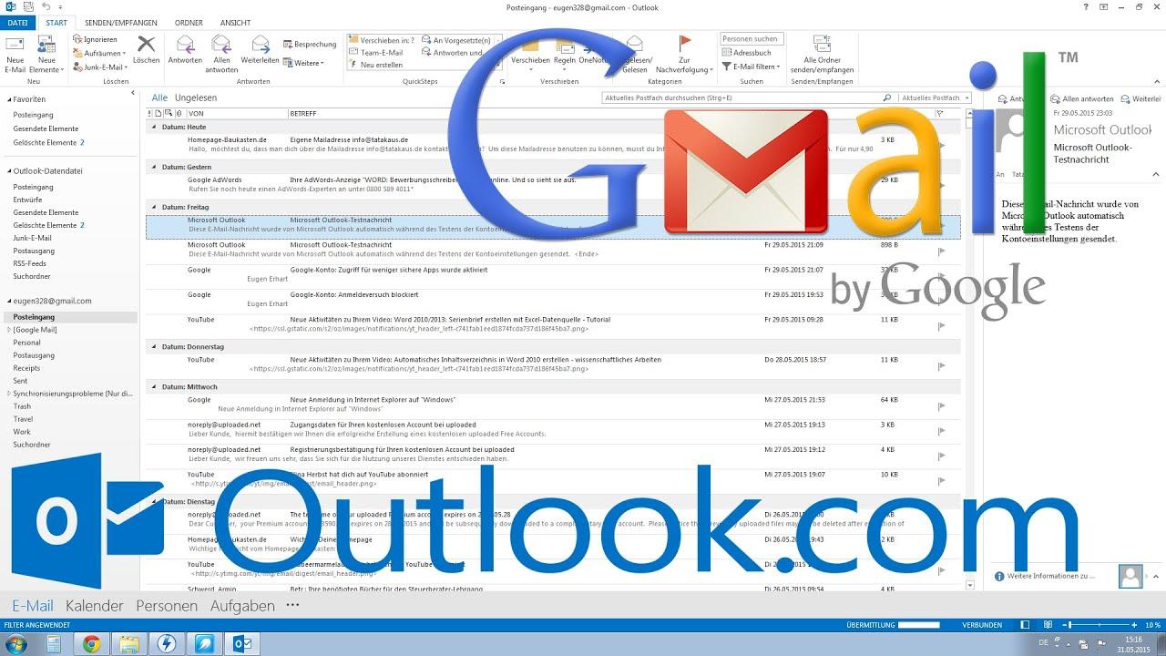 Outlook 2013, 2010: Gmail einrichten Tutorial [HD, Deutsch, German ...