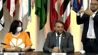 Presidente Jair Bolsonaro e Ministra Damares Alves na sede do Ministério dos Direitos Humanos