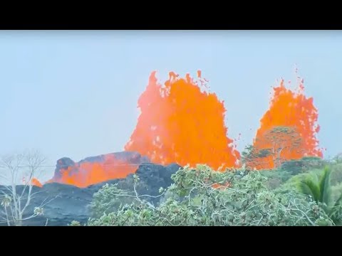 LIVE Kilauea eruption: fountain of lava producing fiery sprays