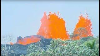 Kilauea eruption: Fountain of lava producing fiery sprays