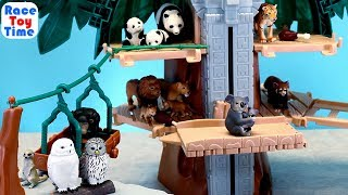 Toy Animals in Safari Treehouse Playset - Fun Learning Animal Names For Kids