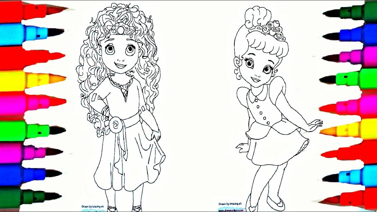 Coloring Book Disney Princess Ooshies Merida And Cinderella Chibis Pages L Kids Drawing