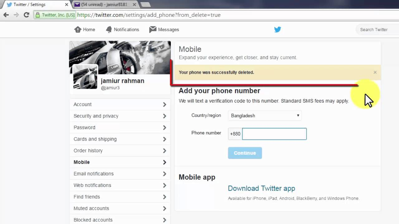 How To Delete Phone Number ( Twitter )