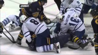 Jordan Leopold goal in wild scrum. Toronto Maples Leafs vs Buffalo Sabres 4/3/12 NHL Hockey
