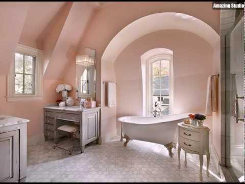 Franzosisch Land Art Badezimmer Verwendet Eine Hellrosa Schatten