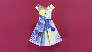 Geldscheine falten: Kleid - Geld falten zur Hochzeit - Origami Geldgeschenk