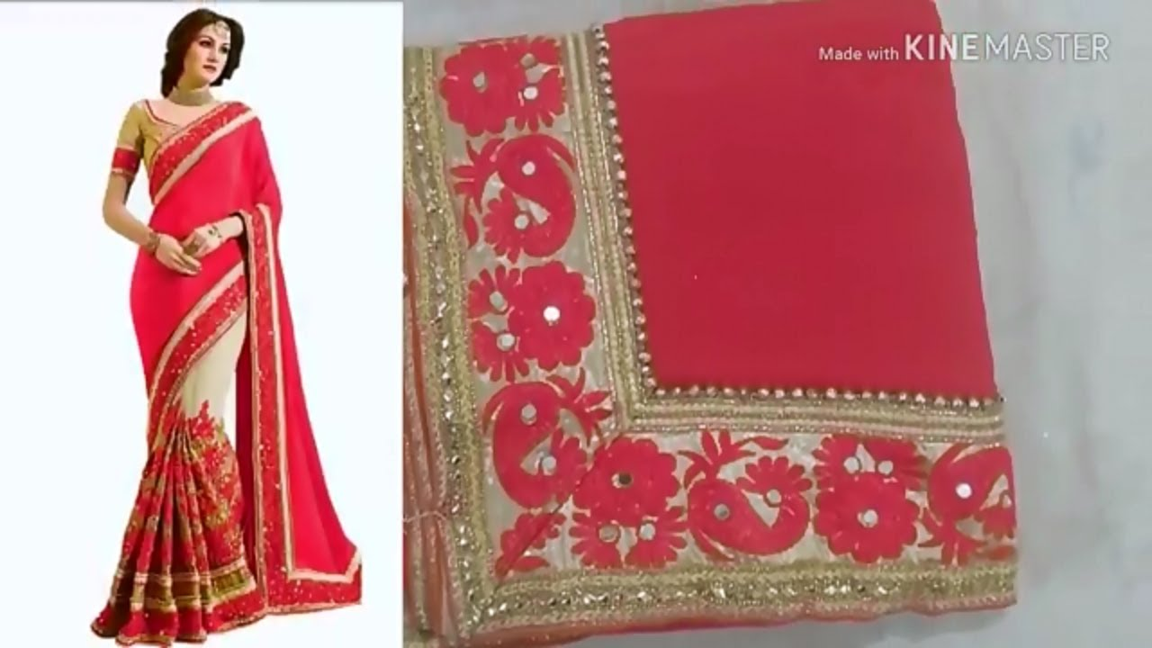 d3313abfe5 Flipkart Red net saree unboxing|Flipkart Party saree review|online ...