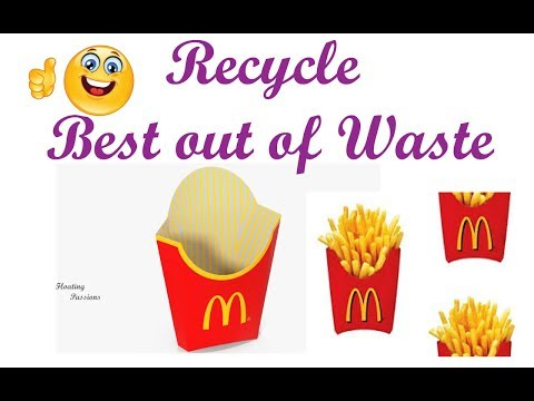 DIY Best out of waste | Recycle McDonalds French Fries Box to Gift Box  | Pen Holder