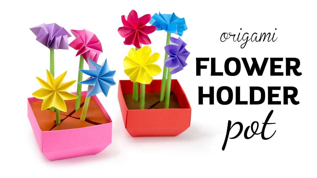 Origami Flower Pot Stem Holder Flowers Paper Kawaii Youtube