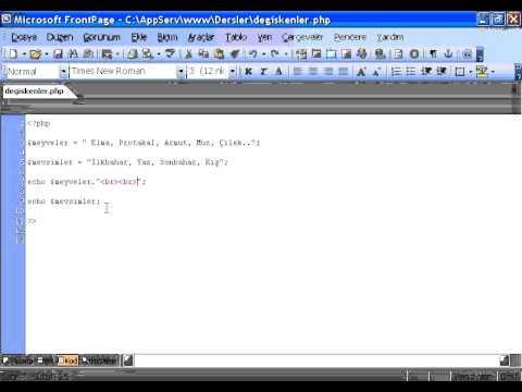 PHP Ders 3 Degiskenler