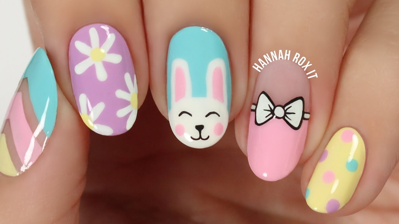 5 Cute Spring/Easter Nail Art Ideas! - YouTube