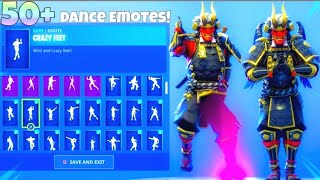 "#Fortnite NEW! ONI ""shogun"" SKIN With 50+ Dance Emotes SHOWCASE! Fortnite Battle Royale"