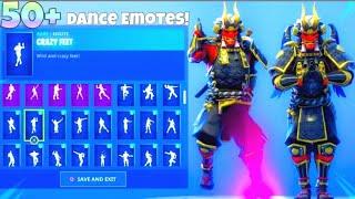 "#Fortnite NEW! ONI ""shogun"" SKIN With 50+ Dance Emotes SHOWCASE! Fortnite Battle Royale"