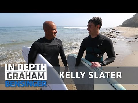 Kelly Slater takes TV host surfing in Malibu