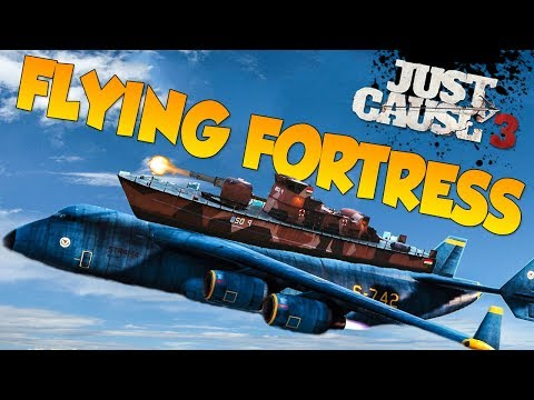 Just Cause 3: Biggest Ship on the Biggest Plane Challenge (Flying Fortress)