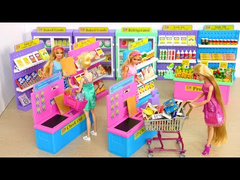 I ❤️ 2 Shop Barbie Deluxe Supermarket, Morning Ready for School boneka Barbie Supermercado