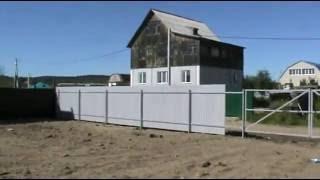 Забор из профнастила с воротами и калиткой(В этом видео мы устанавливаем забор из профнастила. В качестве опорных столбов использована профильная..., 2016-08-30T00:10:57.000Z)