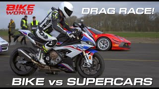 Drag Race! Bike vs Lots Of Supercars In 4K!