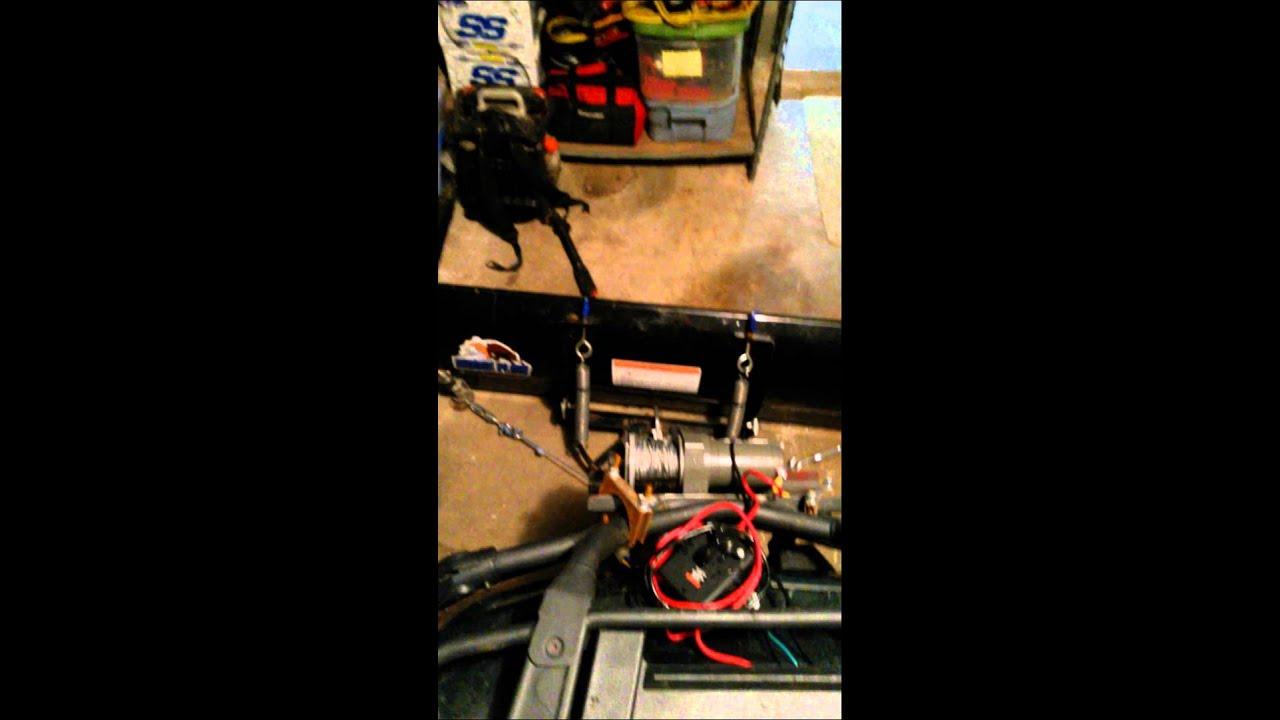 Right Angle Winch : Cheap atv plow angle using winch youtube