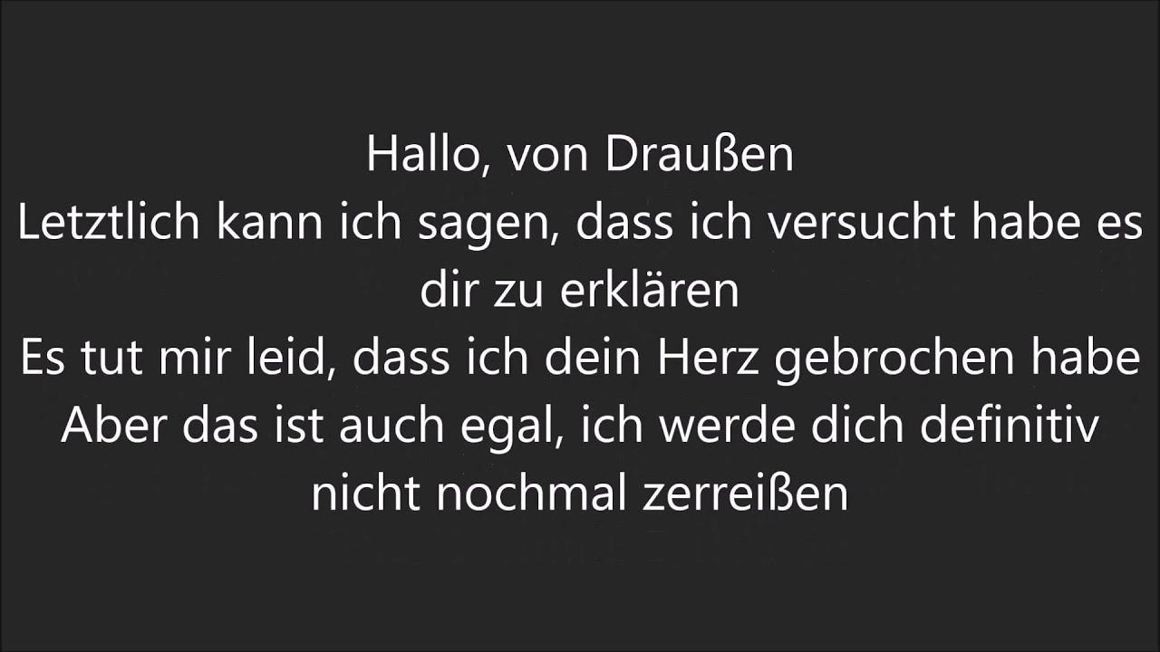 Adele Hello Deutsche übersetzung Youtube