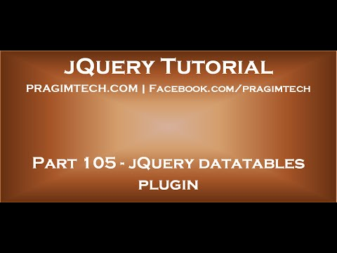 jQuery datatables plugin - YouTube